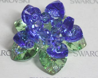 Swarovski Crystal Lotus Ornament for Meditation Prayer YOGA Buddhist / Home Decor  #L002 Sapphire AB, Peridot AB