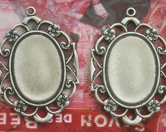 TWO 18mm X 25mm brass filigree bezels frames with hoop, Brass ox, Brass Stampings by Calliopes Attic