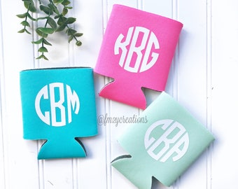Custom Can Cooler | Monogram Can Cooler | Personalized Can Coolers | Can Insulator | Bridesmaid Gift | Gifts for Her | Custom Can Insulator