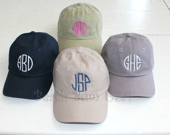Monogrammed Baseball Cap Beach Bum USA, Unstructured Low Profile, Bio Washed Hats