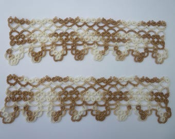 pair of tatted edgings for a narrow table runner in variagated brown