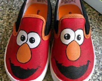Elmo custom kids/toddler/adult slip-on shoes *free shipping*