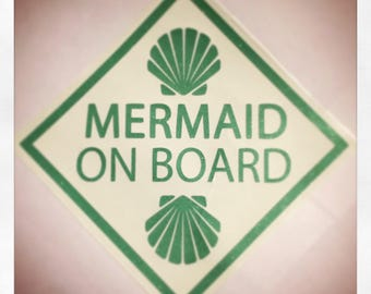 Mermaid On Board glitter vinyl decal - SEAFOAM SPARKLE (other plain colors available) - Car decal, laptop decal, decoration, sign