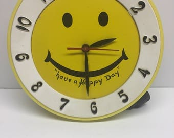 Vintage yellow smiley face wall  happy clock