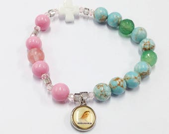 Pink and Green rosary elastic beaded bracelet Pink rosary white cross bead pretty rosary bracelet