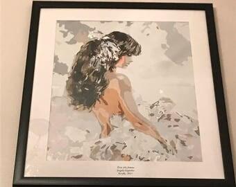 "20 x 24 Framed  ""Etre tres femme"" Acrylic Painting"