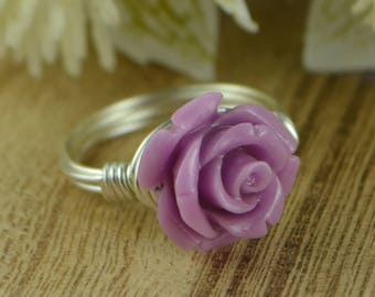 Light Purple Rose Ring -Sterling Silver, Yellow or Rose Gold Filled Wire Wrap with Carved Gemstone Rose -Any Size 4 5 6 7 8 9 10 11 12 13 14