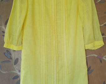 60s yellow long sleeved mini dress by R & K Originals