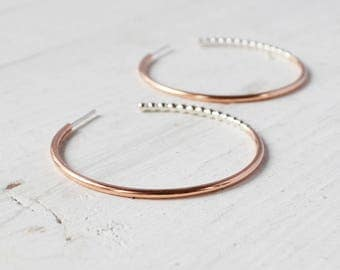 Rattlesnake Hoop Earrings, Mixed Metal Beaded Rose Gold Hoops, Sterling Silver and Gold Filled Small Hoop Earrings, choose your size