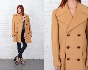 Vintage 70s Beige Coat Peacoat Double breasted Wool Mod medium Large 9677