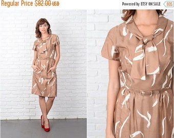 ON SALE Vintage 60s Silk Mod Dress Ascot Bow Brown Cream Abstract Print XS 9504