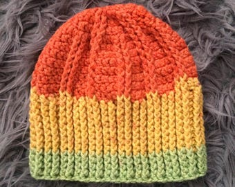 Tri-Color Crochet Beanie Hat by MW
