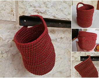 Crochet Nesting Bowl Rust Red, Door Knob Storage Pod, Catchall Sack Crochet Organizer, Traditional Crafts, Retro Modern Decor, Wall Basket