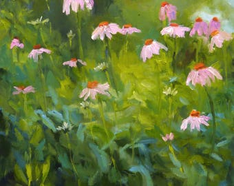 Landscape Oil Painting on Canvas Wildflowers Emerge
