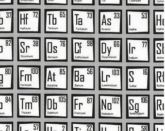 Black & White Periodic Table of Elements from Robert Kaufman's Science Fair Collection