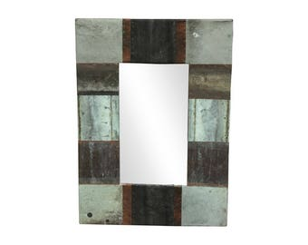 22 in. x 28 in. Patchwork Reclaimed Copper Framed 4.5 in. Mirror
