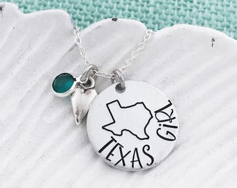 ALL 50 STATES Available - stamped on a rectangle (dogtag) with heart cutout! Personalize Location - Hand Stamped US Maps, Texas or Any State