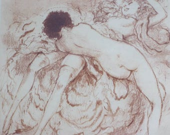 "Vintage 1940s Original Signed Louis Icart Erotic Color Etching Print, ""Foreplay"""