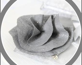 Miss Blossom flower hair clip gray sequins