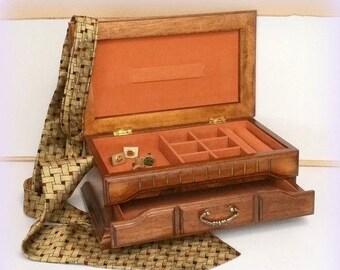 CIJ SALE 70s Men's Jewelry Box / Dresser Valet - Mediterranean Styling - Vintage -  Men's Gifts
