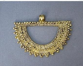 15% off Xmas in July Tibetan Brass Pendant- Brass Engraved Fan Pendant (S58-B6b)