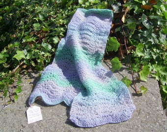 Hand knitted Lacy scarf in blue & green 75% wool