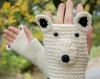 Polar Bear Fingerless Gloves (Wool) ~ Handmade