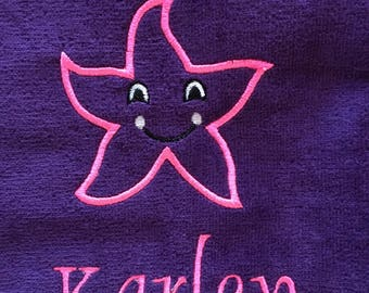 starfish beach towel, personalized beach towels, towels for kids and adults, monogram, beach towel, pool towel,