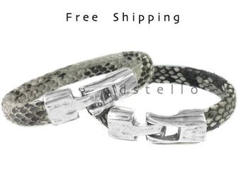 Mens bracelets, Real Python Skin, Snakeskin, Genuine snakeskin, Perfect Gift, Jewelry for him, Silver color hammered clasp