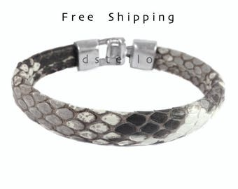 Men's snakeskin bracelet, Men's jewelry, Genuine, Authentic men's cuff, hammered clasp, real, gift for him, custom made,