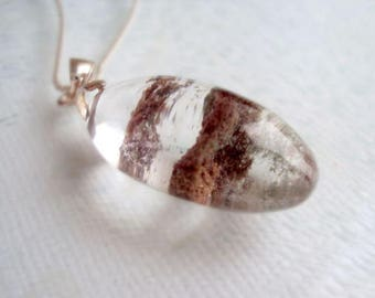 Garden Quartz Necklace. Lodolite Pendant. Quartz Necklace. 925 Sterling Silver Chain Necklace. Gift For Her.
