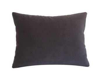 "Plum Velvet Suede Decorative Throw Pillow Cover / Pillow Case / Cushion Cover / 12x16"""