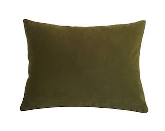 "Deep Wasabi Green Velvet Suede Decorative Throw Pillow Cover / Pillow Case / Cushion Cover / 12x16"""