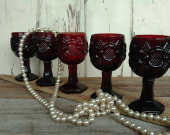 Mid Century Ruby Red Goblet Set of 5 Matching Glasses - Vintage Dark Red Drinking Glasses, Four Deep Red Glasses, OOAK Housewarming Gifts