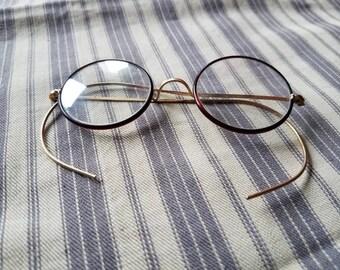 Antique Round Eyeglasses Unisex - Vintage Circle Eyeglasses, Rolled Gold Eyeglasses With Brown Rims, Common Sense Eyeglasses For Men Women