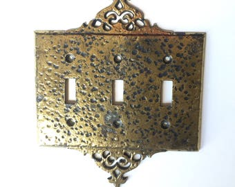 Vintage Burnished Brass Switch Plate Cover, Light Switch Cover, Hollywood Regency, Triple Switchplate
