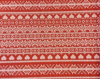 Fryetts Fair Isle Red cotton print fabric by the metre.