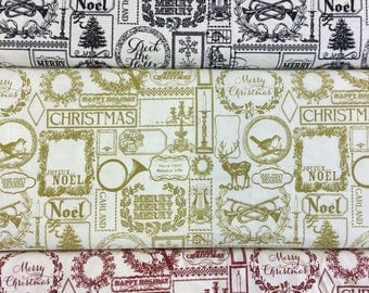 Riley Blake Lost and Found Christmas Pattern C4000 in Red, Black or Green by the half metre 100% cotton