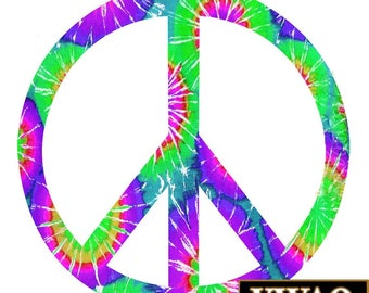 Peace Sign Tie Dye Wall Decals Hippie Groovy Peace Love Retro PC2 Flower Power 70s