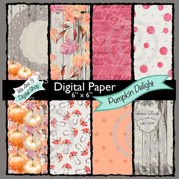 We Are 3 Digital Paper, Autumn, Fall, Pumpkins, Mushrooms