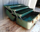 Vintage My Buddy Falls City Tool / Tackle Box - 3 Divided Trays - Metal Tool Box - Green Tackle Box