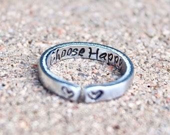 Choose Happy Mantra Ring, Adjustable Ring, Hand-Stamped Heart Ring, Stacking Ring, Inspiration Inside, Choose Happy Mantra Ring, Heart Ring