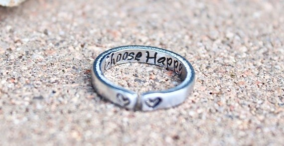 Choose Happy Mantra Ring