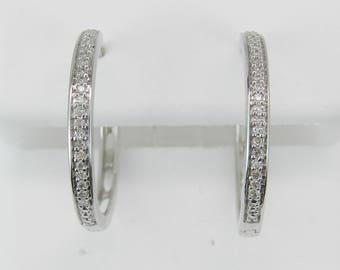 Diamond Hoop Earrings White Gold Hoops Wedding Birthday Gift