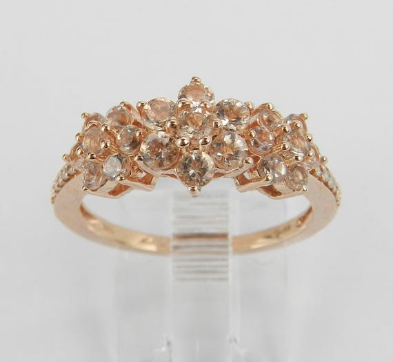 Morganite and Diamond Flower Cluster Anniversary Ring Rose Pink Gold Size 7