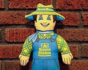 "Vintage 70s Brown's Chicken Restaurant It Tastes Better Promotional Fabric Farmer 16"" Doll"
