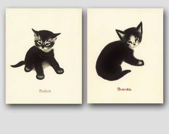 "Cat Print, Cat Nursery Art (Vintage Wall Decor, Gift Set Sale) --- ""Butch & Brenda"""