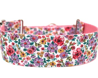 "Floral Dog Collar 2"" wide Martingale Dog Collar for Large Breed Dogs Flower Dog Collar"