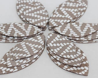 18pcs Die Cut  Leather Leaves, Tan and White  Genuine Leather Petals