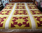 Patchwork Quilt Full Size / Hand Quilted Country Quilt  / Colorful Patchwork Quilt Full Size
